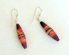 Pink Red Paper Bead eco friendly earrings with by PaperWoodFabric