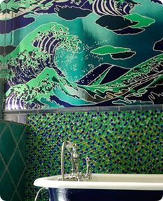 Go For It: Graphic Wallpaper in the Bathroom   Apartment Therapy