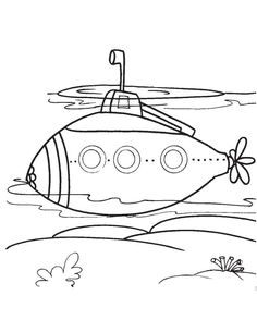 Modern Submarine Coloring Page