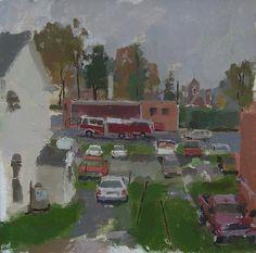 Erin Raedeke Parking Lot with Firetruck, 12 x oil on board, 2005 Firetruck, Parking Lot, Urban Landscape, Landscapes, Surface, Paintings, Oil, Board, Urban