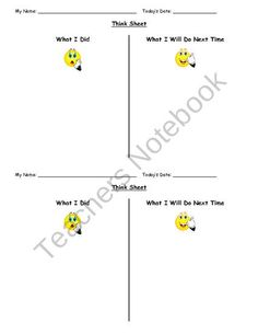 Think Sheet from Second Grade Superstars on TeachersNotebook.com (1 page)