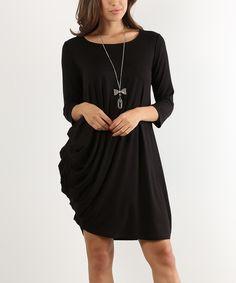 Black Asymmetrical Drape Scoop Neck Shift Dress