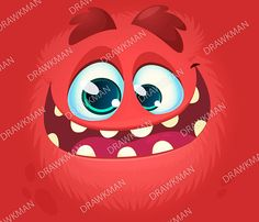 Vector Halloween red monster avatar with wide smile. Design for print, party decoration, postcard Zip archive includes: JPEG VECTOR VECTOR (AI) Purchased files contain no watermarks