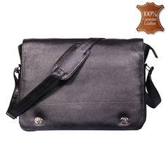 76734f9be3f4 Leather World 15 inch Trendy Black Genuine Leather Laptop Messenger Bag -   MB2013
