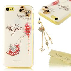 Amazon.com: 5c Case, iPhone 5c Case - Mavis's Diary 3D Handmade Bling Crystal High Heels Sparkle Glitter Diamond Bow Rhinestone Case Hard Cover for iPhone 5c with Soft Clean Cloth (One Case): Cell Phones & Accessories
