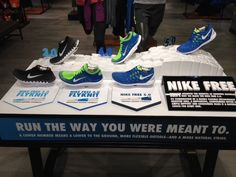 Nike Free Flyknit - Run the Way You Were Meant To retail table display sports shoe display.