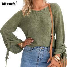 Missufe Sexy V Neck Long Sleeve Autumn Sweaters Casual Loose Female Pullovers 2017 Drawstring Lace Up Knitted Women Sweater #Affiliate
