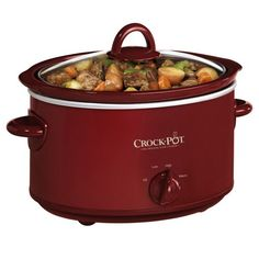 """Crock-Pot SCV401TR 4-Quart Oval Manual Slow Cooker, Red Overview    Simply perfect. Simply delicious. Crock-Pot Slow Cookers make mealtime and entertaining more flavorful. Turn the dial to """"High"""" and get a hot meal, snack, appetizer or dip in no time. Set it on """"Low"""" and tonight's dinner can cook while you're at work. Or use the """"Warm"""" setting during a get together with friends so your dish stays ready to eat until the party is over."""