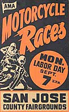 San Jose County Fairgrounds Mile Motorcycle Races Ad Fine Art Print