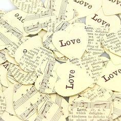 Vintage Newsprint Heart Table Confetti