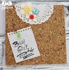 Decorated Cork Tile Note Board from Joy'sLive.com with #GlueDots #DIY #homedecor #crafting