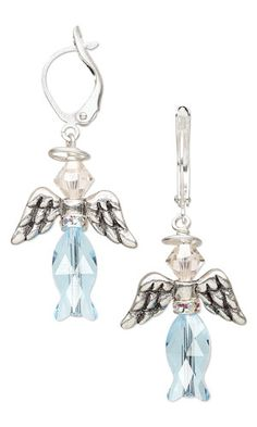 Angel earrings with Swarovski crystal beads