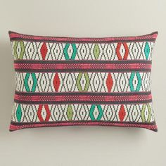 Crafted in India, our 100% cotton woven pillow features a vibrant embroidered design on both sides that adds an instant update to your living space.