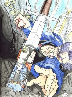 Trunks and Android C-18 &C-17 #DBZ #FANART