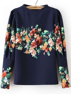 Navy Stand Collar Long Sleeve Floral Blouse pictures