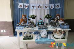 mesa decorada cha de bebe ursos azul e marrom - Pesquisa Google