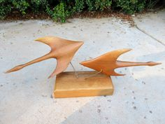 Vintage George Updegraff Wood Carving Signed Flying Geese Art https://www.antiquesandteacups.com/products/1437