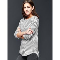 Gap Women Linen Stripe Tee ($40) ❤ liked on Polyvore featuring tops, t-shirts, black stripe, regular, stripe tee, long sleeve t shirts, crew neck t shirt, long sleeve tee and striped long sleeve tee