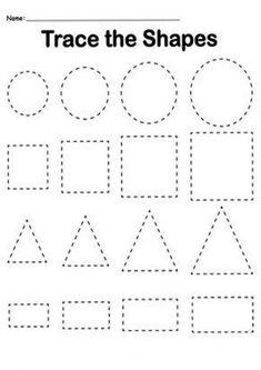 Shape Worksheets For Preschool, Shapes Worksheet Kindergarten, Alphabet Tracing Worksheets, Shapes Worksheets, Preschool Writing, Preschool Learning Activities, Free Preschool, Preschool Shapes, Learning Skills
