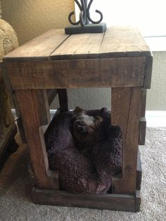 Rustic reclaimed wood end table dog or cat bed