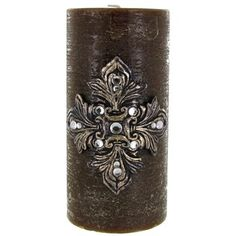 "Universal Candle Company 3"" x 6"" Brown Distressed Candle with Fleur-De-Lis & Gem Accents 