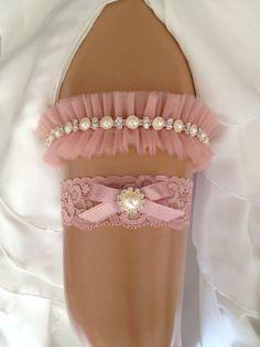 wedding garter set blush pink bridal garter set blush by venusshop, $36.90