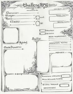 Challenger RPG Character sheet (old version).