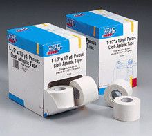 """1-1/2 in. x10 yd. Porous cloth athletic tape roll- 16 per dispenser box - Our ultra-strong, cloth-backed tape with porous adhesive permits the release of perspiration yet still supports knees, ankles and wrists. For athletic purposes, the most popular sizes are the 1 ½"""" and 2"""" widths. Porous, bleached athletic trainer's tape. Porous, adhesive mass allows skin to breathe. 100% cotton/zinc oxide adhesive. At Home > Emergency > First Aid. Weight: 3.00"""