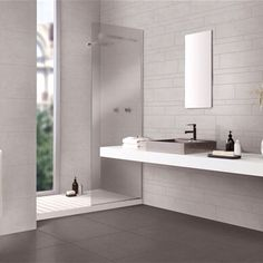 window in shower Bathroom Toilets, Bathrooms, Window In Shower, Double Vanity, Architecture Design, New Homes, House Design, Interior Design, Furniture
