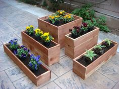 Flower planter, garden pot, plant box, wood, 21 x 21 inch x 8 inch, 5 sections fit together, indoor or outdoor, Redwood, Cedar wood