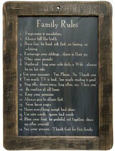 Framed Family Rules Blackboard - Primitive Country Rustic Inspirational Wall Decor by CW, http://www.amazon.com/dp/B00ALL0IMS/ref=cm_sw_r_pi_dp_yvMVrb1FV1S1R