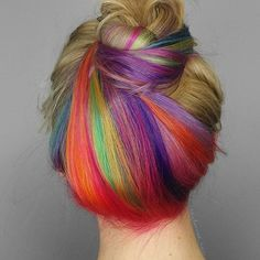 RAINBOW TWIST Color by: @taylorrae_hair! #colorcollective #pravana #pravanavivids #theresonlyone