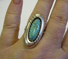 Navajo Turquoise Ring Sterling Silver Signed CP Old by HighArt