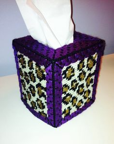 Purple sparkle and leopard plastic canvas tissue box