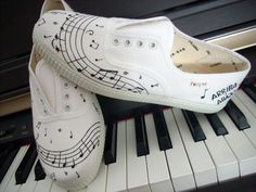 Shoes - Music by invictas-shoes on DeviantArt Painted Canvas Shoes, Painted Vans, Music Shoes, Shoe Crafts, Shoe Art, Custom Shoes, White Shoes, Designer Shoes, Shoes Sandals