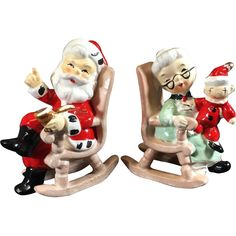 1950's Mr & Mrs Santa in Rocking Chairs Christmas Salt & Pepper Shakers