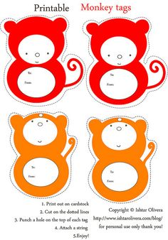 FREE printable monkey tags | Flickr - Photo Sharing!