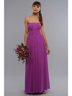 Simple Purple Bridesmaid Dress Strapless Long Length