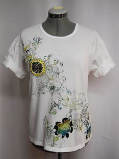 Summer #Custom Tee# Shirt A Mix of  Floral #Fabric #Appliques by paulagsell, $32.00 Beautiful new Designs!