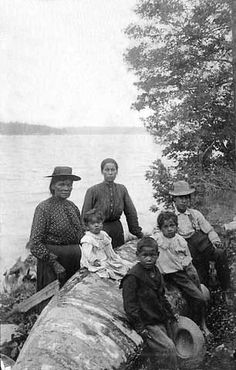 Chippewa Indians on the shore of Cass Lake near Walker - Date Unknown.