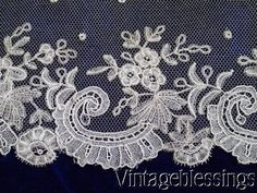 "Fancy Antique Brussels Princess Lace Trim 39"" x 4"" Doll Dressing"