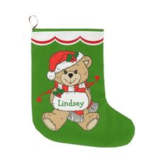 Teddy Bear Personalized Large Christmas Stocking by Westerngirl2