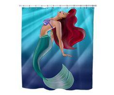 Ariel The Little Mermaid On Tiffany Blue Custom Shower Curtains 36 X 72