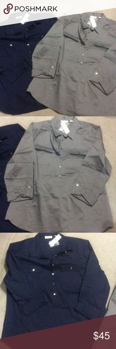New York & Company Shirts 2 for 1 Two for one brand new shirts from New York & Company with tags never worn. Silver buttons long sleeve with role up and button as seen in picture. 60%cotton, 35% polyestor, and 5% spandex. New York & Company Tops Button Down Shirts
