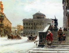 """Painting of the Day!   Wladyslaw T Chemielinski (1911-1979) """"Warsaw in Winter A Street Scene Near the Opera"""" Oil On Canvas   To see more works by this artist please visit us at: http://www.artrenewal.org/pages/artwork.php?artworkid=38196&size=large"""