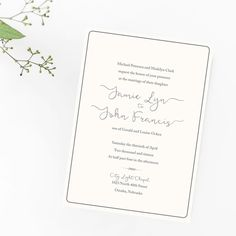 Simple beauty.  I may be your style; it may not be.  But it's mine.  Creating something that says so much with so little effort (or so it seems). I love simple elegance of wedding invitations.