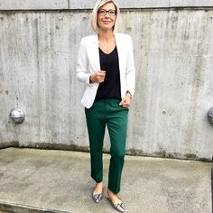 The green pants and white blazer in action again  well you know me - my capsule wardrobe that you already know each corner of