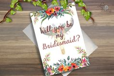 Bridesmaid Card, Will You Be My Bridesmaid card, Bridesmaid card, Bohemian, Floral Wedding Card, skull wedding card, floral bridesmaid card Be My Bridesmaid Cards, Will You Be My Bridesmaid, Bridesmaids, Skull Wedding, Floral Wedding, Wedding Cards, Bohemian, Unique Jewelry, Handmade Gifts