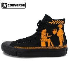 High Top All Black Converse Chuck Taylor Shoes Retro Painted Red-figure Design Custom Hand Painted Shoes Mens Womens Sneakers