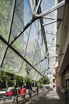 500 Bourke Street's glass and steel canopy, adorned with pixelated foliage. by John Wardle Architects.